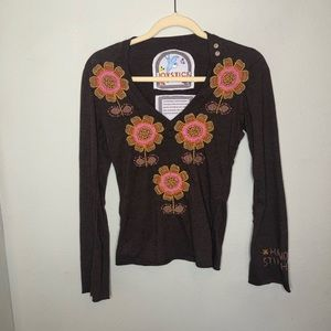 Joystick by Johnny Was Brown Embroidered Top Small
